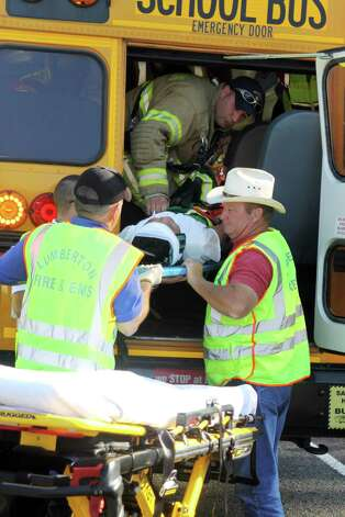 Lumberton ISD initiated a mock bus accident in the early morning hours Friday, June 1. The drill helped bus drivers, transportation and administrative personel better prepare for an actual emergency. Photo: David Lisenby, HCN_Mock