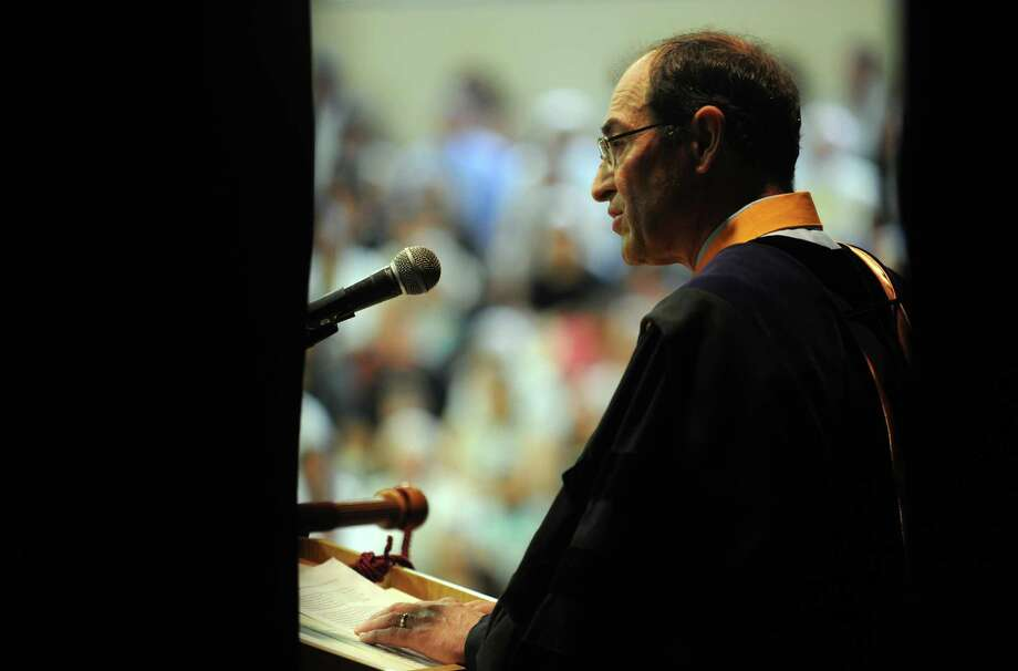 Board Chair Patrick Lapera addresses graduates during the St. Joseph High School commencement ceremony Saturday, June 2, 2012 at the school in Trumbull, Conn. Photo: Autumn Driscoll / Connecticut Post