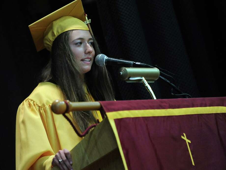 St. Joseph High School valedictorian Jessica Jowdy , of Newtown, addresses graduates during commencement exercises Saturday, June 2, 2012 at the school in Trumbull, Conn. Photo: Autumn Driscoll / Connecticut Post