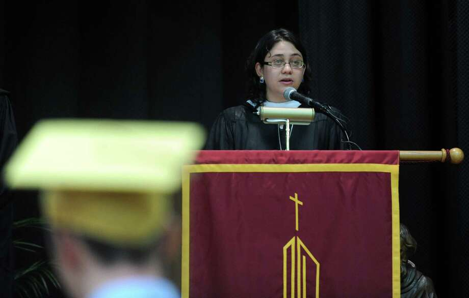 Sister Gabriela Davila addresses graduates during the St. Joseph High School commencement ceremony Saturday, June 2, 2012 at the school in Trumbull, Conn. Photo: Autumn Driscoll / Connecticut Post