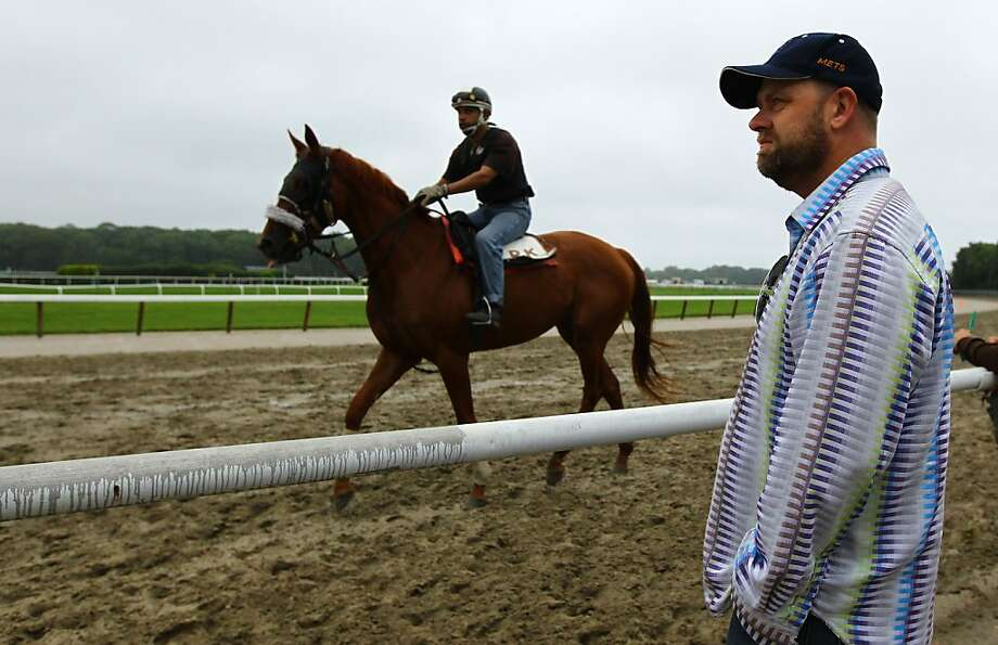 ELMONT, NY - JUNE 02:  Doug O'Neill, trainer for Triple Crown hopeful I'll Have Another looks out to the racetrack during  morning workouts at Belmont Park on June 2, 2012 in Elmont, New York.  (Photo by Al Bello/Getty Images) Photo: Al Bello, Getty Images