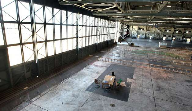 Large warehouse space, that was once used to repair planes will now be home to team Artemis from the Royal Swedish Yacht Club Saturday June 2, 2012. The City Of Alameda is actively perusing America's Cup teams, offering easy access and warehouse space that will be needed for the world-class racing thatÕs expected to take part off the island community. Photo: Lance Iversen, The Chronicle