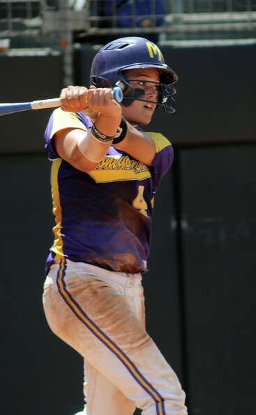 Montgomery junior shortstop Devon Tunning drives the ball during her at-bat in the bottom of the 6th