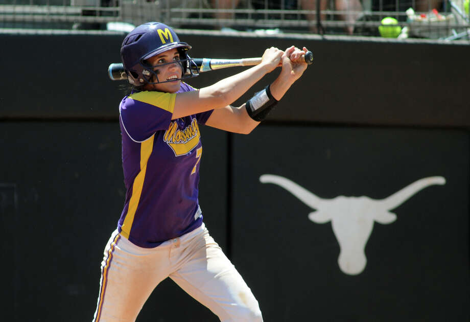 Montgomery freshman third baseman Carly Holder drives the ball during her at- bat in the bottom of the third inning against Smithson Valley during their 4A state softball final at Red & Charline McCombs Field in Austin on Saturday. Photo: Jerry Baker, For The Chronicle
