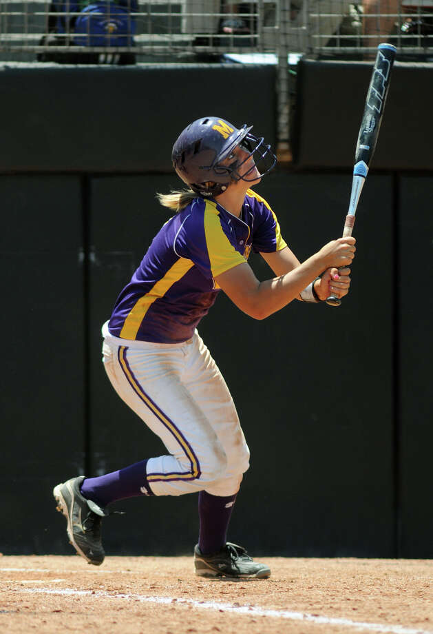 Montgomery sophomore third baseman Malloree Schurr follows her drive during her at-bat in the bottom of the 2nd inning against Smithson Valley during their 4A state softball final at Red & Charline McCombs Field in Austin on Saturday. Photo: Jerry Baker, For The Chronicle