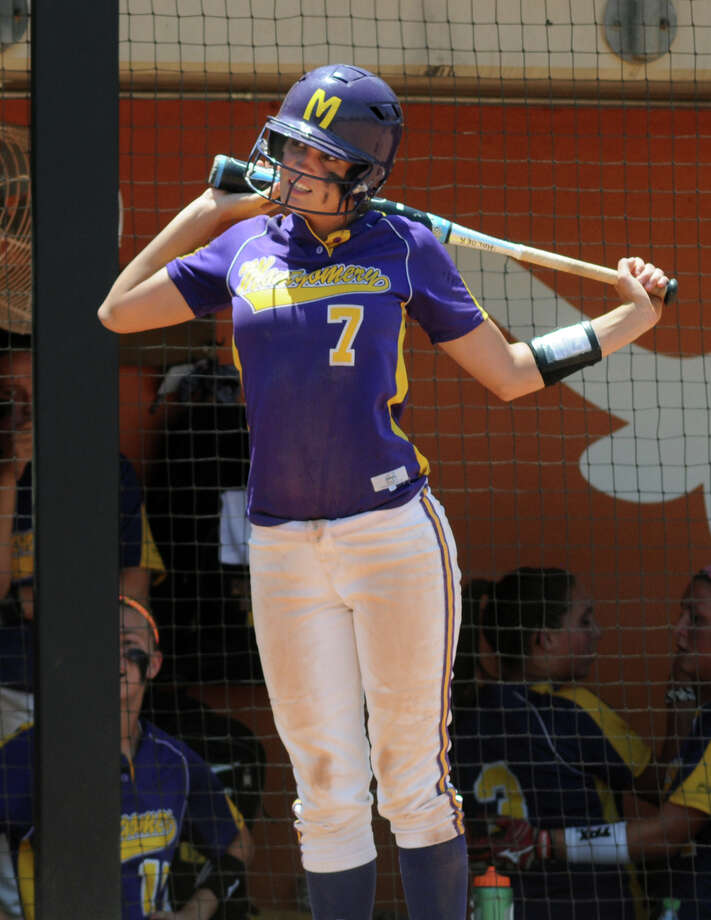 Montgomery freshman third baseman Carly Holder gets ready for her at-bat in the bottom of the 3rd inning against Smithson Valley during their 4A state softball final at Red & Charline McCombs Field in Austin on Saturday. Photo: Jerry Baker, For The Chronicle