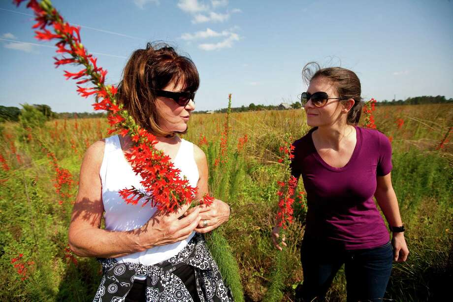 Sheridan Mitchell Lorenz, left, talks with her niece Sarah Mitchell about how happy she is to see the results of a controlled burn. Photo: Nick De La Torre / © 2012  Houston Chronicle