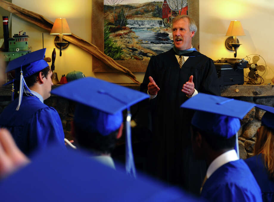Director of Student Life John Naeher talks to the Class of 2012 before the start of Christian Heritage School's 29th Annual Commencement Exercises in Trumbull, Conn. on Saturday June 2, 2012. Photo: Christian Abraham / Connecticut Post