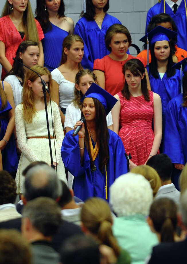 "Christian Heritage's High School Choir performs the hymn ""Joyful, Joyful,"" during the 29th Annual Commencement Exercises in Trumbull, Conn. on Saturday June 2, 2012. Photo: Christian Abraham / Connecticut Post"