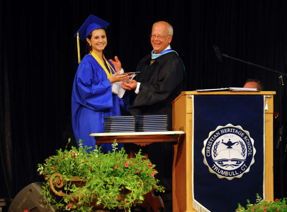 Valedictorian Grace Loria during Christian Heritage School's 29th Annual Commencement Exercises in Trumbull, Conn. on Saturday June 2, 2012. Photo: Christian Abraham / Connecticut Post
