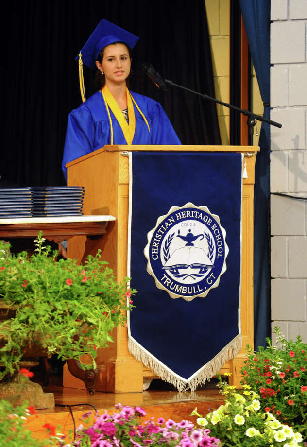 Grace Loria gives the Valedictory Address during Christian Heritage School's 29th Annual Commencement Exercises in Trumbull, Conn. on Saturday June 2, 2012. Photo: Christian Abraham / Connecticut Post
