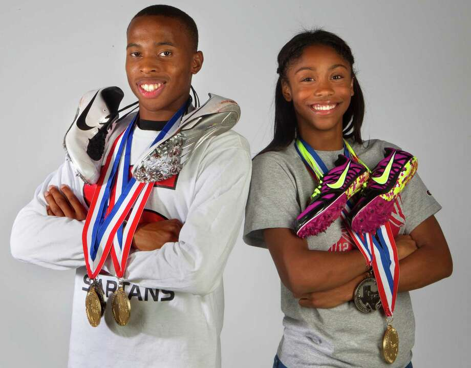 Carlton Anumnu, left, played an invaluable role in Stafford finishing second in Class 3A with two relay golds and a silver in the 100, while Westfield's Alaysha Johnson nearly swept the hurdles races by winning the 300 and earning runner-up status in the 100. Photo: Cody Duty / © 2011 Houston Chronicle