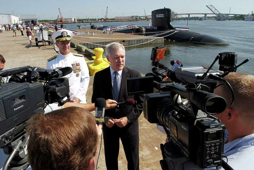 U.S. Secretary of the Navy and former Mississippi governor Ray Mabus addresses the media prior to th