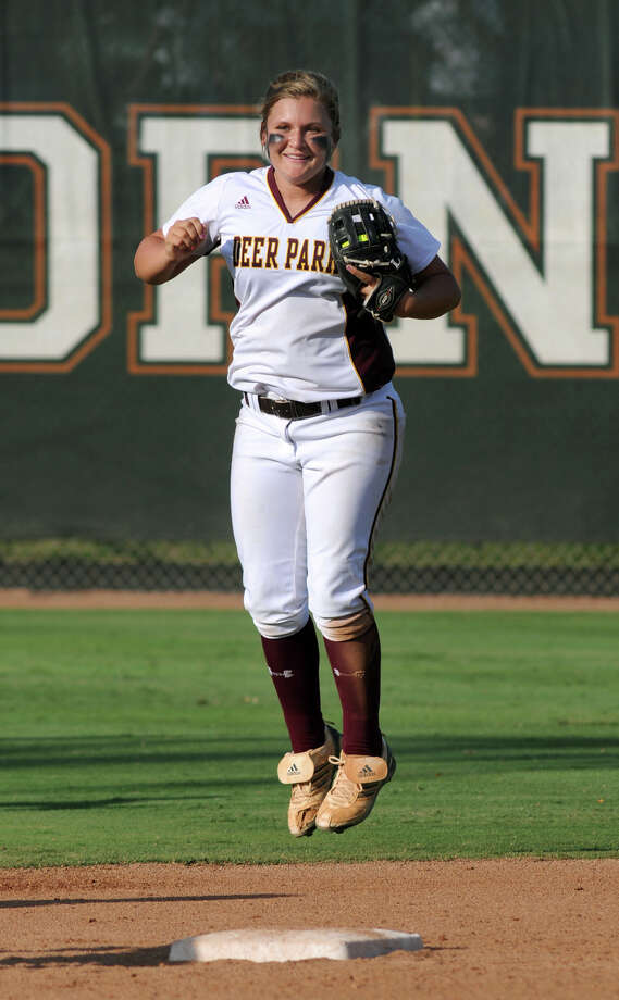 Deer Park junior 2nd baseman Lexi Fryar celebrates putting away a pop-up for the last out of the game to defeat the Klein Collins Tigers 6-0 and give the Lady Deers the Class 5A state softball championship at Red & Charline McCombs Field in Austin on Saturday. Photo: Jerry Baker, For The Chronicle