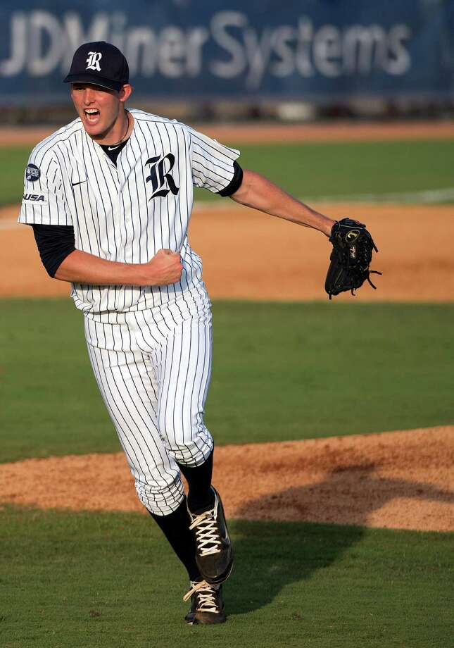 Rice pitcher Austin Kubitza reacts after striking out Arkansass Jake Wise for the final out of the fifth inning of an NCAA college baseball tournament regional game Saturday, June 2, 2012, in Houston. Photo: Smiley N. Pool, Houston Chronicle / © 2012  Houston Chronicle