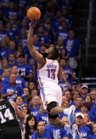 Oklahoma City Thunder's James Harden (13) shoots the ball during the first half of game four of the NBA Western Conference Finals in Oklahoma City, Okla. on Saturday, June 2, 2012. (Kin Man Hui / San Antonio Express-News)