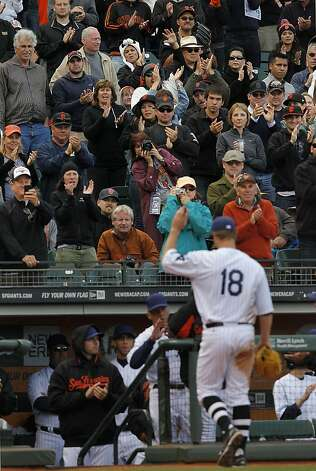 Giants' fan's applaud starting pitcher, Matt Cain as he leaves in the 9th inning,  as the San Francisco Giants go on to beat the Chicago Cubs 2-1 at AT&T Park in San Francisco , Ca. on Saturday June 2, 2012. Photo: Michael Macor, The Chronicle