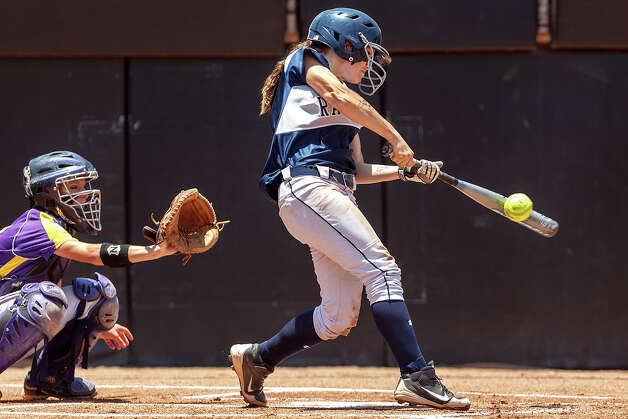 Smithson Valley's Megan Hill gets a first-inning single during their 4A state final game with Montgomery at McCombs Field in Austin on June 2, 2012.  Smithson Valley won the game 9-8.  MARVIN PFEIFFER/ mpfeiffer@express-news.net Photo: MARVIN PFEIFFER, Express-News / Express-News 2012