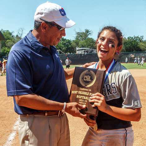 Smithson Valley's Kellen Roibles reacts as she receives the Most Valuable Player award following their 4A state final game with Montgomery at McCombs Field in Austin on June 2, 2012.  Smithson Valley won the game 9-8.  MARVIN PFEIFFER/ mpfeiffer@express-news.net Photo: MARVIN PFEIFFER, Express-News / Express-News 2012