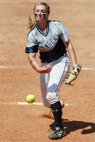 Smithson Valley freshman Regan Mergele throws to the plate during their 4A state final game with Montgomery at McCombs Field in Austin on June 2, 2012.  Mergele was the winning pitcher as Smithson Valley won the game 9-8.  MARVIN PFEIFFER/ mpfeiffer@express-news.net Photo: MARVIN PFEIFFER, Express-News / Express-News 2012