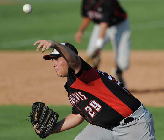 Pitcher Derek Stevens of Lake Travis throws against Boerne Champion during Class 4A regional finals baseball action at Wolff Stadium on Saturday, June 2, 2012. Photo: Billy Calzada, Express-News / © 2012 San Antonio Express-News