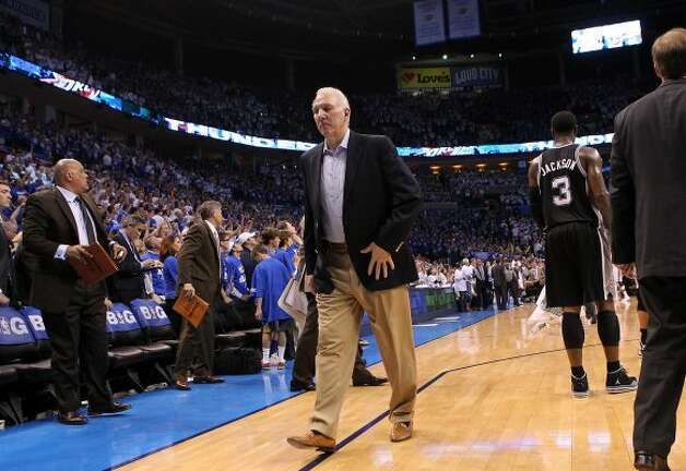 San Antonio Spurs coach Gregg Popovich leaves the court after the second half of game four of the NBA Western Conference Finals in Oklahoma City, Okla. on Saturday, June 2, 2012.  The Thunder won 109-103. (San Antonio Express-News)