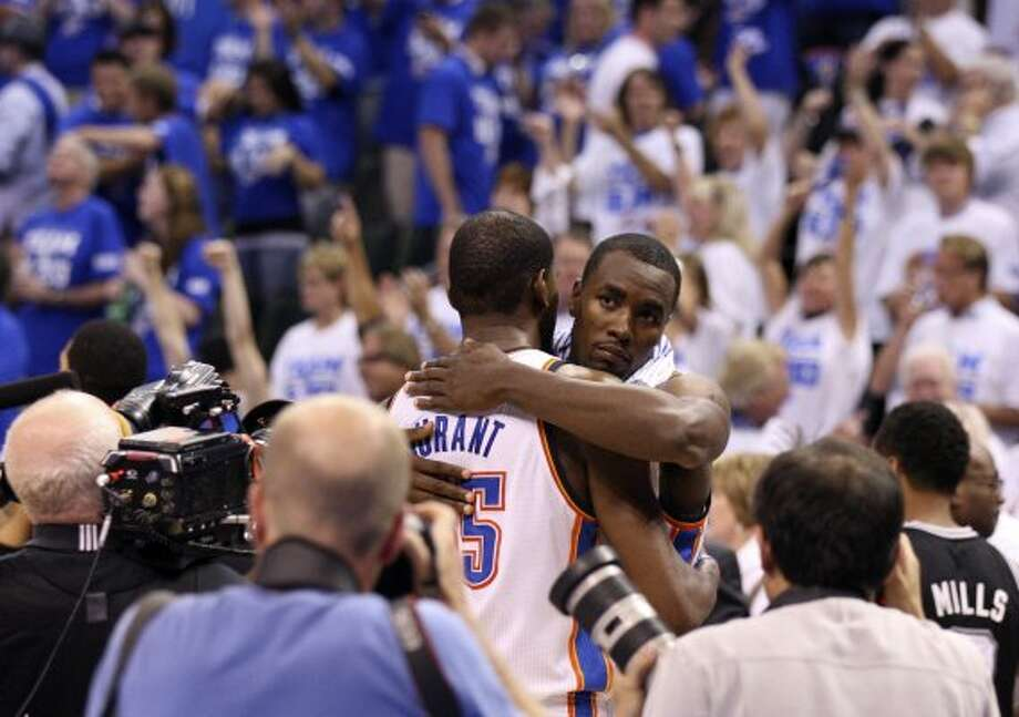 Oklahoma City Thunder's Kevin Durant (35) embraces Oklahoma City Thunder's Kevin Durant (35) after game four of the NBA Western Conference Finals in Oklahoma City, Okla. on Saturday, June 2, 2012.  The Thunder won 109-103. (San Antonio Express-News)