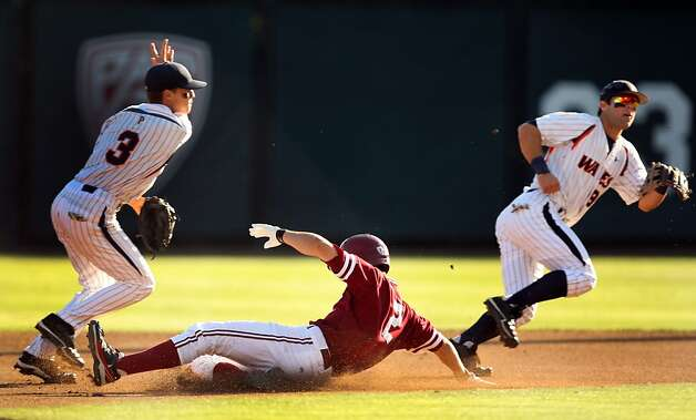 Danny Diekroeger slides into second during the first inning for the NCAA regional game versus Pepperdine. Stanford met Pepperdine at Sunken Diamond on Saturday for the 2nd NCAA Regional game. Photo: Kevin Johnson, The Chronicle