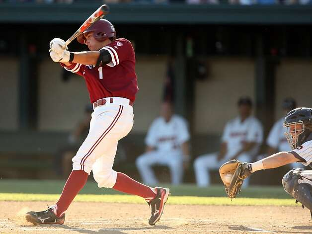 Cardinal's Alecx Blandino viciously swings but misses during the NCAA regional game versus Pepperdine on Saturday. Stanford topped Pepperdine 5-4. Stanford met Pepperdine at Sunken Diamond on Saturday for the 2nd NCAA Regional game. Photo: Kevin Johnson, The Chronicle