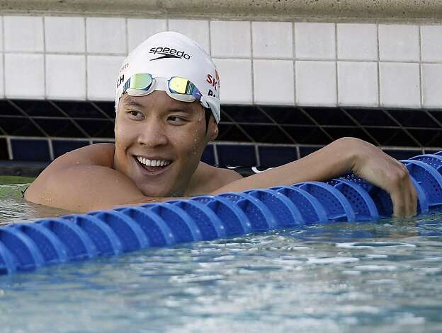 Park Tae-hwan, of South Korea, smiles after his win in the 200-meter freestyle swimming final at the Santa Clara International Grand Prix, Friday, June 1, 2012, in Santa Clara, Calif. (AP Photo/Marcio Jose Sanchez) Photo: Marcio Jose Sanchez, Associated Press