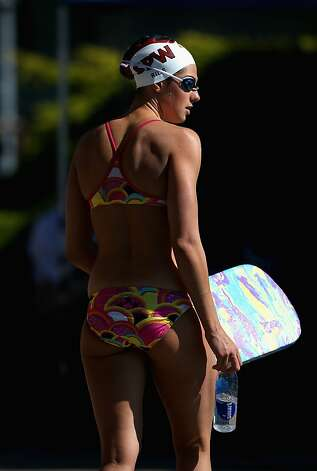 SANTA CLARA, CA - JUNE 02:  Stephanie Rice of Australia gets ready to swim in the warm up pool during day 3 of the Santa Clara International Grand Prix at George F. Haines International Swim Center on June 2, 2012 in Santa Clara, California.  (Photo by Ezra Shaw/Getty Images) Photo: Ezra Shaw, Getty Images
