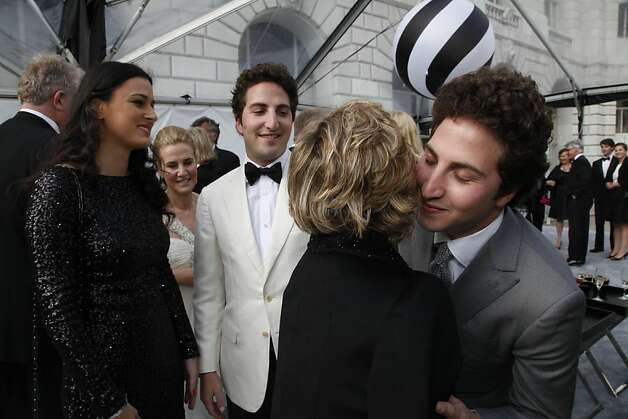 Matthew and Marcia Goldman greet each other at the Black and White Ball celebrating the 100th Anniversary of the San Francisco Symphony on Saturday, June 2, 2012. Photo: Alex Washburn