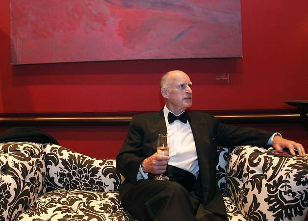 California Governor Jerry Brown takes a break at the Black and White Ball celebrating the 100th Anniversary of the San Francisco Symphony on Saturday, June 2, 2012. Photo: Alex Washburn