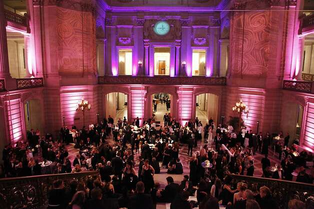 San Francisco City Hall buzzes with activity during the Black and White Ball celebrating the 100th Anniversary of the San Francisco Symphony on Saturday, June 2, 2012. Photo: Alex Washburn