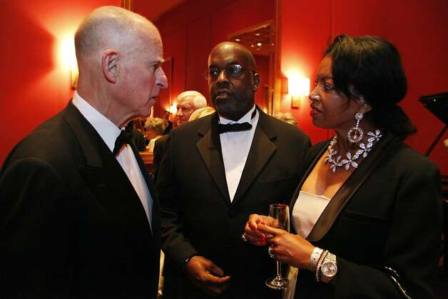 Bernard and Denise Bradley Tyson chat with California Governor Jerry Brown during the Black and White Ball celebrating the 100th Anniversary of the San Francisco Symphony on Saturday, June 2, 2012. Photo: Alex Washburn