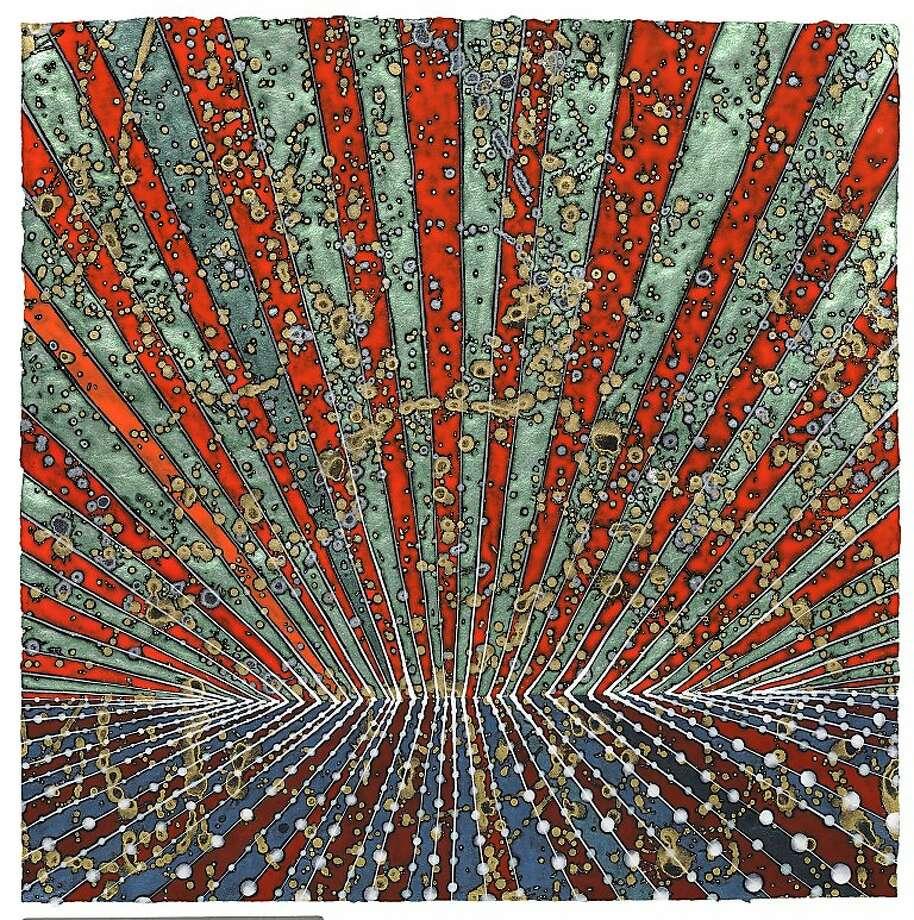 """Tadanori"" (2012) acrylic on paper by Barbara Takenaga   17"" x 17"""