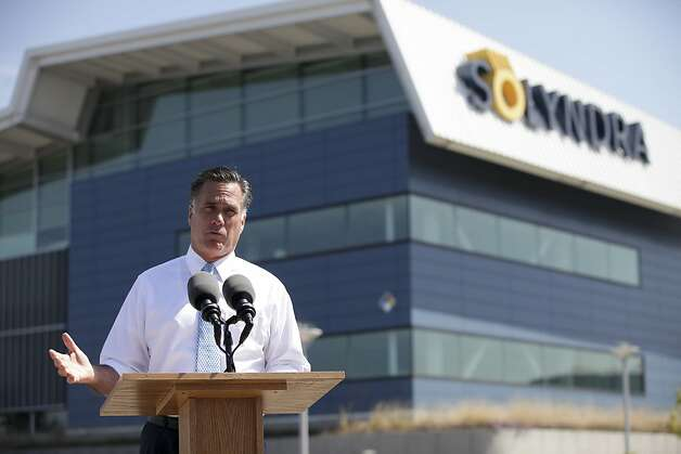 Former Massachusetts Gov. Mitt Romney, the presumptive Republican presidential candidate, speaks during a campaign stop at Solyndra, the solar-panel company that filed for bankruptcy protection last year after receiving $528 million in federal loan guarantees, in Fremont, Calif., May 31, 2012. The stop at Solyndra's closed factory in Fremont, Calif., represents a new effort by the Romney campaign to win over independent voters and draw further scrutiny to the struggling economy under President Barack Obama. (Jim Wilson/The New York) Photo: Jim Wilson, New York Times