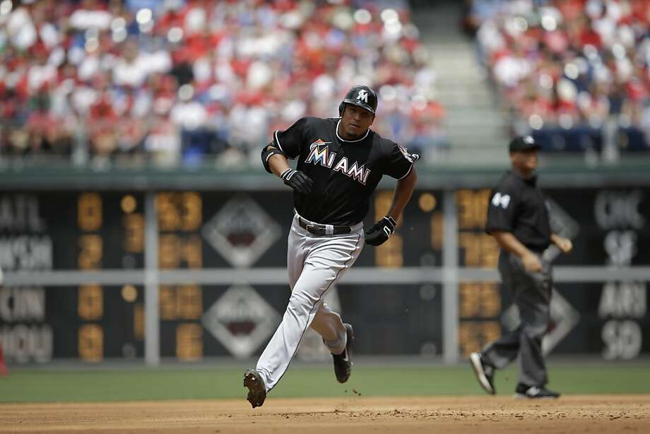 Miami Marlins' Carlos Zambrano rounds the bases after hitting a home run during a baseball game against the Philadelphia Phillies, Sunday, June 3, 2012, in Philadelphia. (AP Photo/Matt Slocum) Photo: Matt Slocum, Associated Press