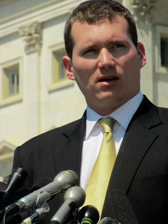 Colin Goddard was shot four times in the 2007 Virginia Tech rampage. He is seen here at a press conference on 4/16/12 at the House Triangle in front of the Capitol Building. / photo courtesy of Colin Goddard