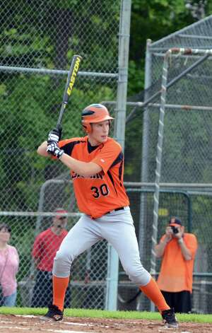 Shelton's Ryan Testani (30) at bat during the Class LL baseball quarterfinals against Ridgefield at Shelton High School on Sunday, June 3, 2012. Photo: Amy Mortensen / Connecticut Post Freelance