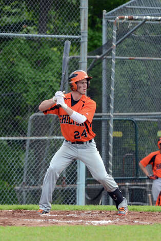 Shelton's Marcello Ursini (24) at bat during the Class LL baseball quarterfinals against Ridgefield at Shelton High School on Sunday, June 3, 2012. Photo: Amy Mortensen / Connecticut Post Freelance