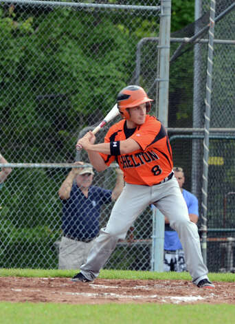 Shelton's Tyler Tice (8) at bat during the Class LL baseball quarterfinals against Ridgefield at Shelton High School on Sunday, June 3, 2012. Photo: Amy Mortensen / Connecticut Post Freelance