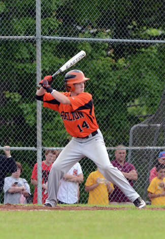 Shelton's Edward Groth (14) at bat during the Class LL baseball quarterfinals against Ridgefield at Shelton High School on Sunday, June 3, 2012. Photo: Amy Mortensen / Connecticut Post Freelance