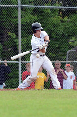Ridgefield's Eric Jones (23) at bat during the Class LL baseball quarterfinals against Shelton at Shelton High School on Sunday, June 3, 2012. Photo: Amy Mortensen / Connecticut Post Freelance