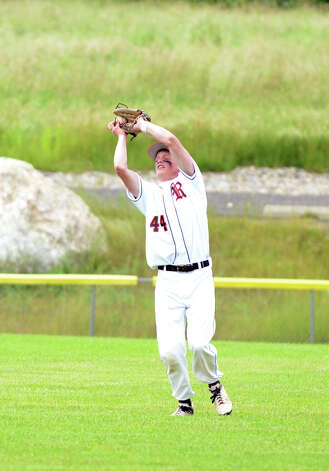Ridgefield's Tim Muro (44) makes an out during the Class LL baseball quarterfinals against Shelton at Shelton High School on Sunday, June 3, 2012. Photo: Amy Mortensen / Connecticut Post Freelance