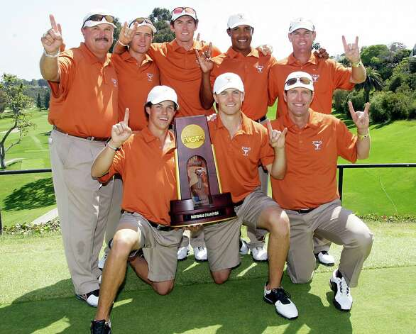 The University of Texas men's golf team celebrates their victory in the NCAA Division 1 golf championship at Riviera Country Club in Los Angeles, Sunday, June 3, 2012.  From left front are: Cody Gribble, Jordan Spieth, and assistant coach John-Paul Hebert. From left rear are: head coach John Fields, Toni Hakula, Dylan Frittelli, Julio Vegas and assistant coach Ryan Murphy. Photo: Reed Saxon, Associated Press