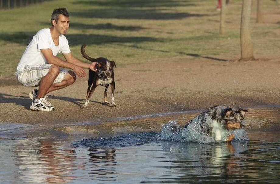 Chris Mendez holds 'Cocoa' as 'Rocky' jumps for the ball into the doggie pool at Danny Jackson Family Bark Park on Friday, June 1, 2012, in Houston. Houston will have a rain free weekend with high's in the low 90's. ( Mayra Beltran / Houston Chronicle )