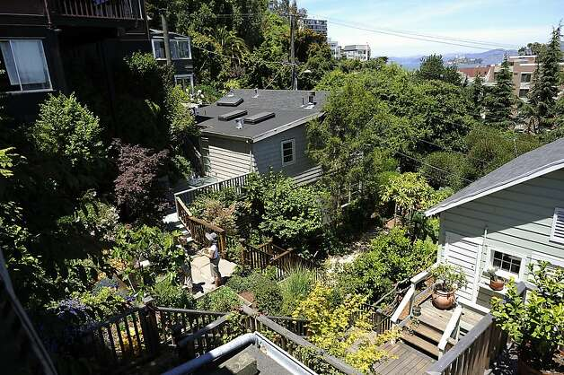 "A view of Denise St. Onge's garden from the property above.  The Garden Conservancy, a national nonprofit group, held its annual ""open days"" event at several private gardens on Telegraph Hill Sunday June 3rd, 2012. Photo: Michael Short, Special To The Chronicle"