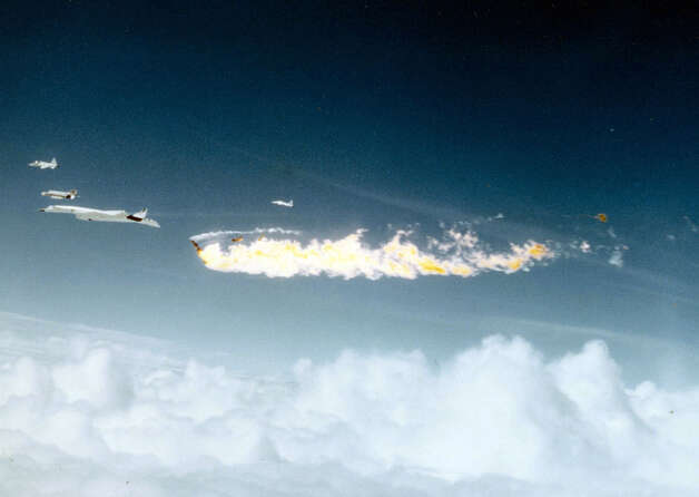 The second, improved XB-70 took flight on July 17, 1965, achieved Mach 3 on Jan. 3, 1966 and made nine Mach 3 flights by June 1966. Then, on June 8, 1966, it collided in midair with NASA's F-104N chase plane and crashed. The F-104N pilot and XB-70 co-pilot died in the mishap. This photo shows the XB-70A on the left, with most of both vertical stabilizers missing, and the F-104 at the forward edge of the fireball. The first XB-70 was modified and continued to fly, but newer technology displayed the aircraft, which made its final flight on Feb. 4, 1969. Photo: U.S. Air Force