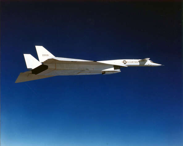 The B-70 Valkyrie was initially envisioned as a high-altitude bomber that could cruse at Mach 3. But the move to missiles led the Kennedy Administration to cancel the program while two XB-70 prototypes were under construction. The focus shifted to using the XB-70 as a testbed for supersonic transport research. The first XB-70A made its first flight on Sept. 21, 1964, but was found to have poor directional stability above Mach 2.5. Photo: U.S. Air Force